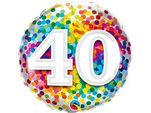 """18"""" fóliový balónek - barevné konfety 40"""
