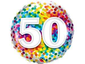 """18"""" fóliový balónek - barevné konfety 50"""