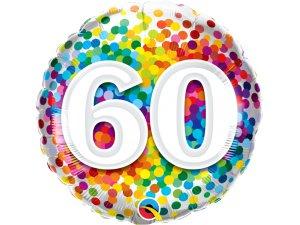 """18"""" fóliový balónek - barevné konfety 60"""