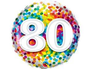 """18"""" fóliový balónek - barevné konfety 80"""