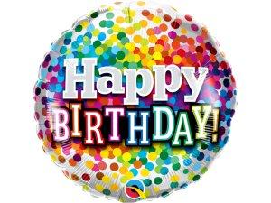 """18"""" fóliový balónek - barevné konfety BDAY"""