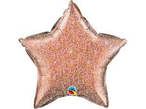 """20"""" fóliový balónek hvězda - Lesknoucí růžovozlatá (51cm)"""