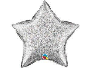 """20"""" fóliový balónek hvězda - Lesknoucí stříbrná (51cm)"""