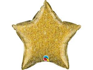 """20"""" fóliový balónek hvězda - Lesknoucí zlatá (51cm)"""