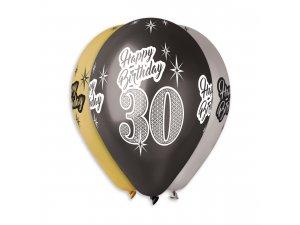"""Balónek metalický (30cm/12"""") """"30"""" potisk (100ks/bal)"""