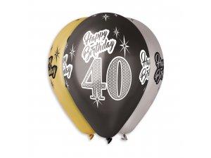 """Balónek metalický (30cm/12"""") """"40"""" potisk (100ks/bal)"""