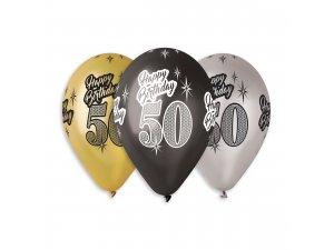 """Balónek metalický (30cm/12"""") """"50"""" potisk (100ks/bal)"""