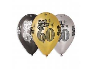 """Balónek metalický (30cm/12"""") """"60"""" potisk (100ks/bal)"""