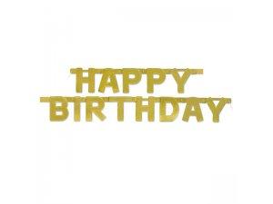 """Girlanda """"Happy Birthday"""" zlatá Deluxe, 127x11cm"""