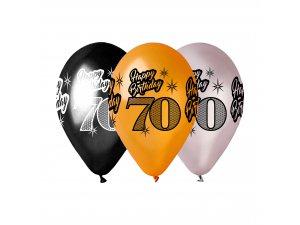 """Balónek metalický (30cm/12"""") """"70"""" potisk (100ks/bal)"""