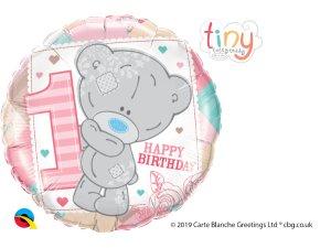 """18"""" fóliový balónek kruh - Tatty TEDDY 1 narozeniny holka"""