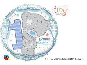 """18"""" fóliový balónek kruh - Tatty TEDDY 1 narozeniny kluk"""