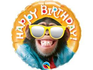"""18"""" foliový balónek kruh - usměvavý šimpanz"""