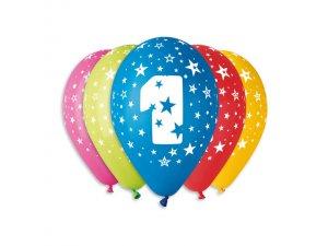 Balónek pastel 30 cm číslo 1 potisk (100ks/bal)