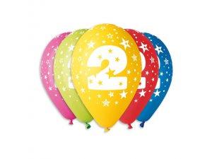 Balónek pastel 30 cm číslo 2 potisk (100ks/bal)