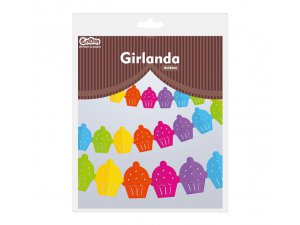 Girlanda papírová - Barevné muffiny 360x15,1x18cm