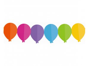 Girlanda papírová - Barevné balónky 360x13,3x18cm
