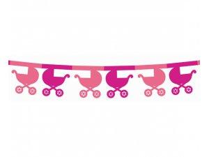 Girlanda papírová - Kočárky růžová 360x18x18cm