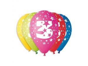 Balónek pastel 30 cm číslo 3 potisk (100ks/bal)
