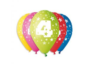 Balónek pastel 30 cm číslo 4 potisk (100ks/bal)