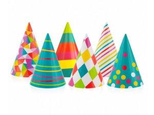 Čepičky papírové různé barvy 6 ks