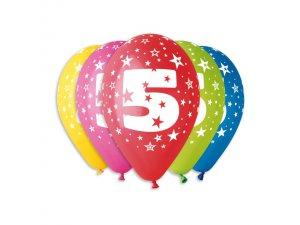 Balónek pastel 30 cm číslo 5 potisk (100ks/bal)