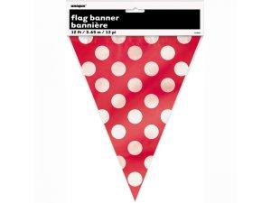 Girlanda papírová - Červená s puntíky (365cm)