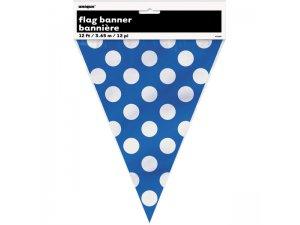 Girlanda papírová - Modrá s puntíky (365cm)