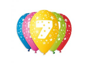 Balónek pastel 30 cm číslo 7 potisk (100ks/bal)