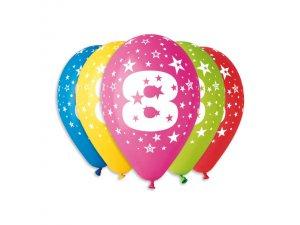 Balónek pastel 30 cm číslo 8 potisk (100ks/bal)