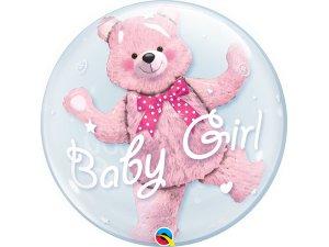 """24"""" dvojbublina - BABY medvídek - růžová"""