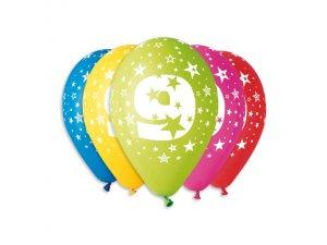 Balónek pastel 30 cm číslo 9 potisk (100ks/bal)