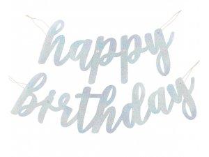 Girlanda papírová - Stříbrný nápis Happy Birthday lesklý 84cm