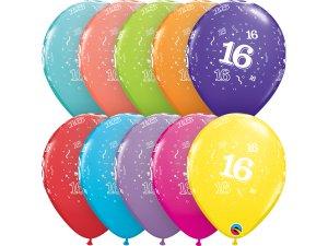 """Balónek Qualatex 11"""" potisk číslo 16 (6ks v balení)"""