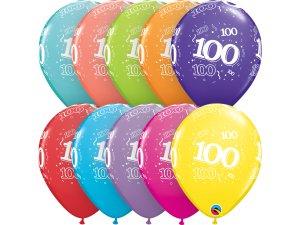 """Balónek Qualatex 11"""" potisk číslo 100 (6ks v balení)"""