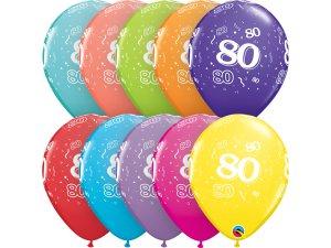 """Balónek Qualatex 11"""" potisk číslo 80 (6ks v balení)"""
