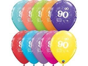 """Balónek Qualatex 11"""" potisk číslo 90 (6ks v balení)"""