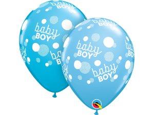 "Balónek Qualatex 11"" Baby boy puntíky (25ks v sáčku)"