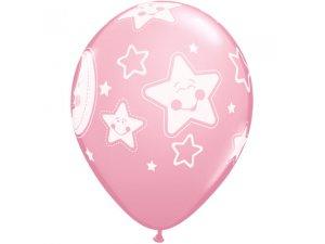 """Balónek Qualatex 11"""" potisk """"Baby měsíc a hvězdy"""" (6ks v balení)"""