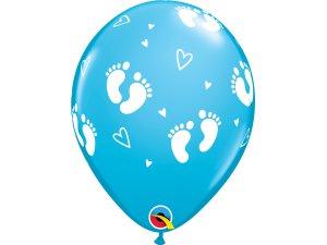 """Balónek Qualatex 11"""" potisk """"Dětské krůčky"""" modrý (6ks v balení)"""