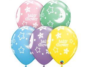 """Balónek Qualatex 11"""" potisk Baby shower měsíc a hvězdy (6ks v balení)"""