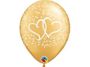 """Balónek Qualatex 11"""" Propletená srdce, zlatý (25ks v sáčku)"""
