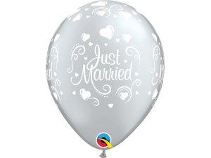 """Balónek Qualatex 11"""" potisk Novomanželé (6ks v balení)"""
