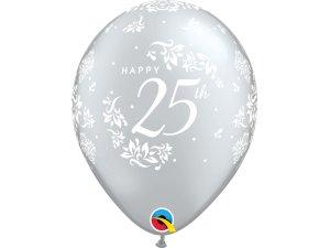 """Balónek Qualatex 11"""" potisk 25. výročí svatby (6ks v balení)"""