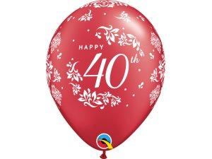 """Balónek Qualatex 11"""" potisk 40. výročí svatby (6ks v balení)"""