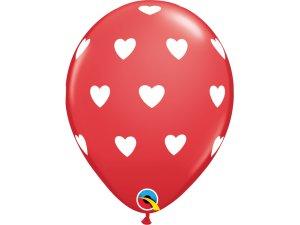 """Balónek Qualatex 11"""" potisk Srdce, červený (6ks v balení)"""