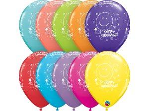 """Balónek Qualatex 11"""" potisk Hodně štěstí do důchodu! (6ks v balení)"""