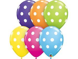 """Balónek Qualatex 11"""" Tropický mix s puntíky  (50ks v balení)"""