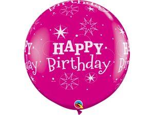 3FT růžový - Happy birthday - hvězdy
