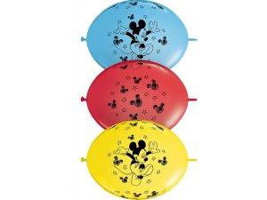 """12"""" Balónek QLINK DN MICKEY MOUSE  (50ks v balení)"""